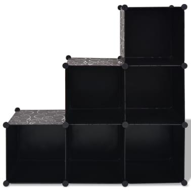 vidaXL Estantería de cubos con 6 compartimentos negro[2/5]