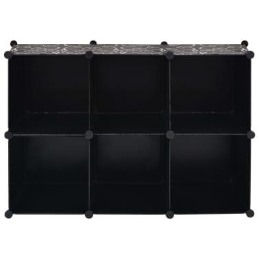 vidaXL Estantería de cubos con 6 compartimentos negro[5/5]