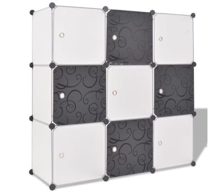 vidaXL fekete és fehér kocka alakú tároló 9 tárolórekesszel[1/5]
