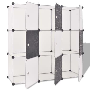 vidaXL fekete és fehér kocka alakú tároló 9 tárolórekesszel[2/5]
