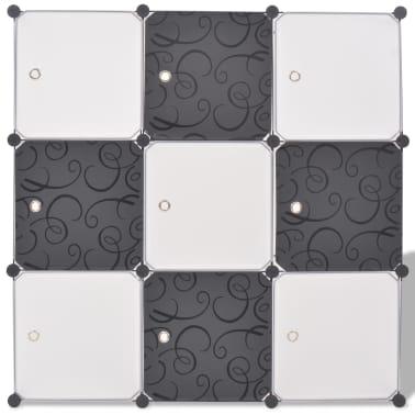 vidaXL fekete és fehér kocka alakú tároló 9 tárolórekesszel[3/5]