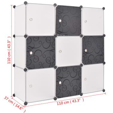 vidaXL fekete és fehér kocka alakú tároló 9 tárolórekesszel[5/5]