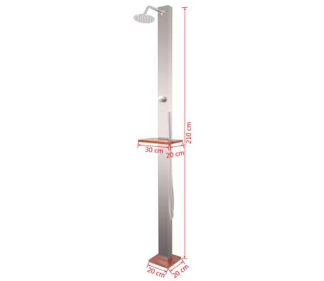 vidaXL Außendusche Gebürsteter Edelstahl 210 cm[11/11]