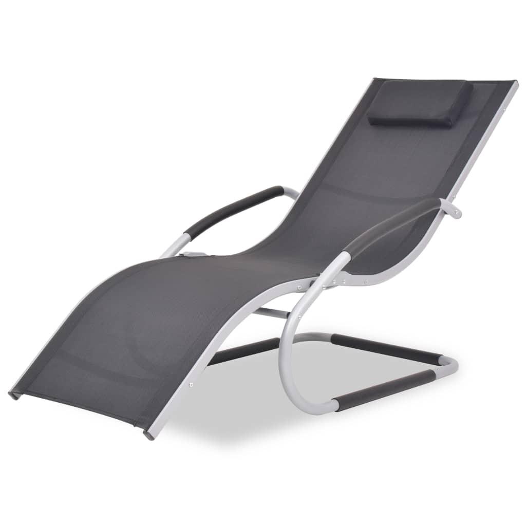vidaXL Șezlong de plajă cu pernă, negru, aluminiu și textilenă poza 2021 vidaXL