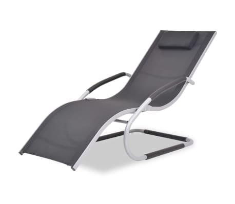 vidaXL Solsäng med kudde aluminium och textilene svart[1/9]