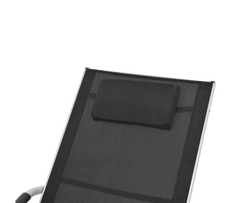 vidaXL Solsäng med kudde aluminium och textilene svart[5/9]
