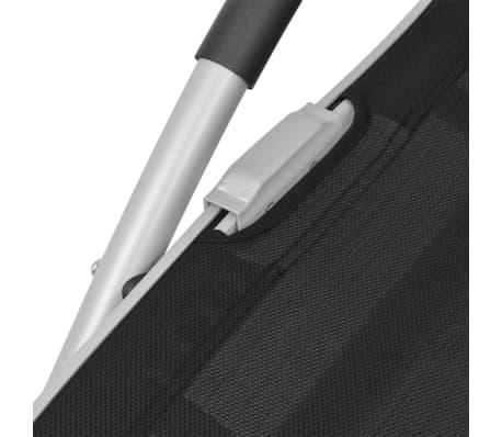 vidaXL Solsäng med kudde aluminium och textilene svart[8/9]