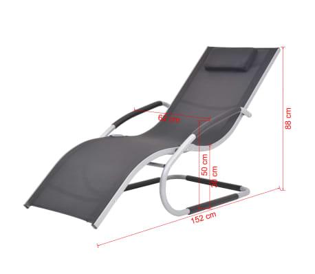 vidaXL Solsäng med kudde aluminium och textilene svart[9/9]