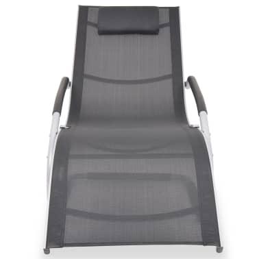 vidaXL Solsäng med kudde aluminium och textilene svart[2/9]