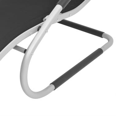vidaXL Solsäng med kudde aluminium och textilene svart[6/9]