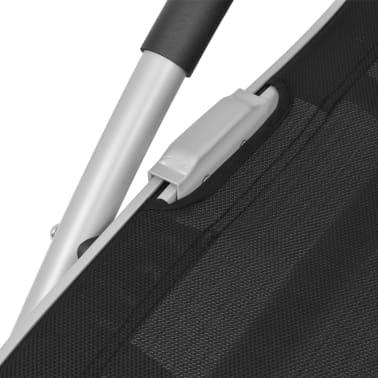 vidaXL Záhradné ležadlo s vankúšom, hliník a textilén, čierne[8/9]