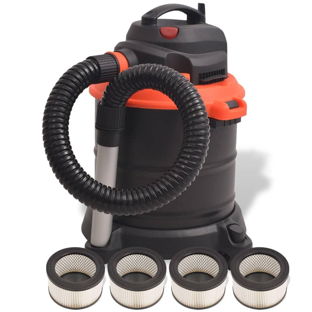 vidaXL Aspirator de cenușă 1200 W 20 L, negru și portocaliu imagine vidaxl.ro