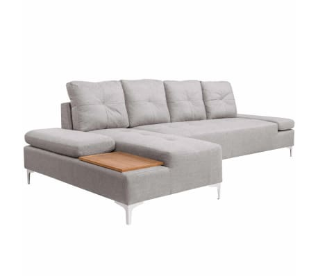 vidaxl sofa in l form mit ablagefl che aus holz stoff grau xxl 300 cm im vidaxl trendshop. Black Bedroom Furniture Sets. Home Design Ideas