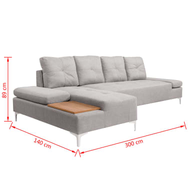 vidaxl sofa in l form mit ablagefl che aus holz stoff grau xxl 300 cm g nstig kaufen. Black Bedroom Furniture Sets. Home Design Ideas