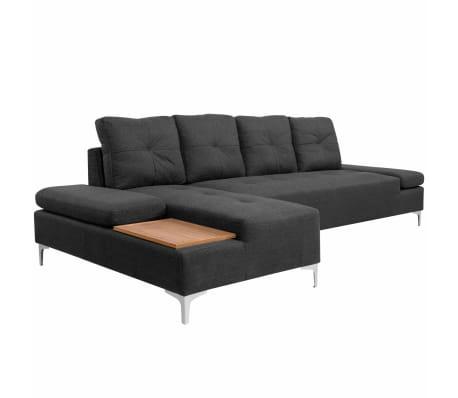 vidaXL Sofa in L-Form mit Ablagefläche aus Holz Stoff Grau XXL 300 cm[1/8]
