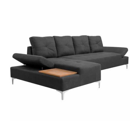 vidaXL Canapé en L avec plateau en bois Tissu Gris foncé XXL 300 cm[2/8]