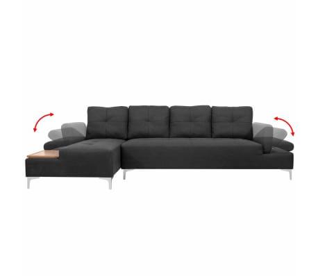 vidaXL Sofa in L-Form mit Ablagefläche aus Holz Stoff Grau XXL 300 cm[3/8]