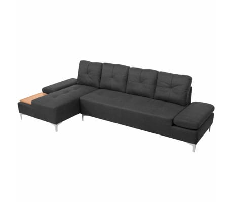 vidaxl sofa in l form mit ablagefl che aus holz stoff grau xxl 300 cm g nstig kaufen. Black Bedroom Furniture Sets. Home Design Ideas