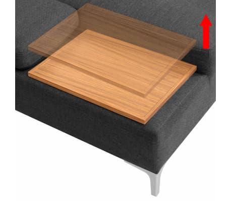 vidaXL Sofa in L-Form mit Ablagefläche aus Holz Stoff Grau XXL 300 cm[5/8]