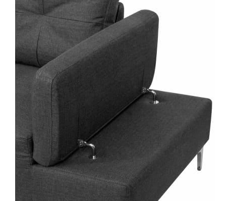 vidaXL Canapé en L avec plateau en bois Tissu Gris foncé XXL 300 cm[6/8]