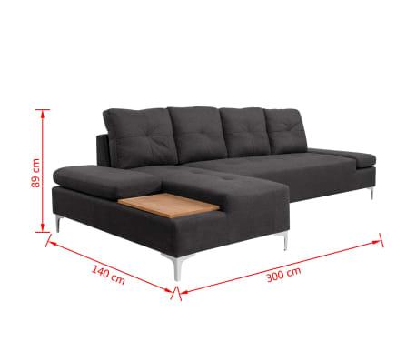 vidaXL Canapé en L avec plateau en bois Tissu Gris foncé XXL 300 cm[8/8]