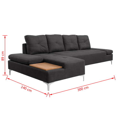 vidaXL Sofa in L-Form mit Ablagefläche aus Holz Stoff Grau XXL 300 cm[8/8]