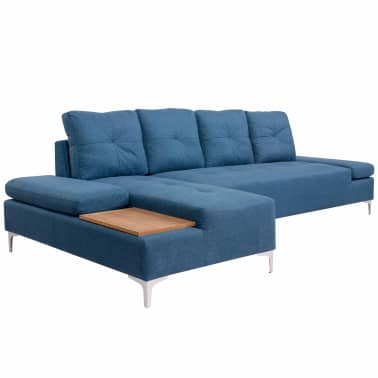vidaXL Canapé en L avec plateau en bois Tissu Bleu XXL 300 cm[1/8]