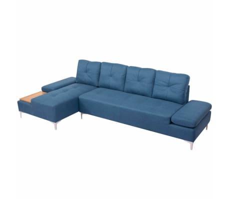 vidaXL Canapé en L avec plateau en bois Tissu Bleu XXL 300 cm[4/8]