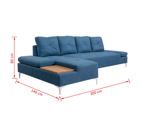 vidaXL Canapé en L avec plateau en bois Tissu Bleu XXL 300 cm[8/8]