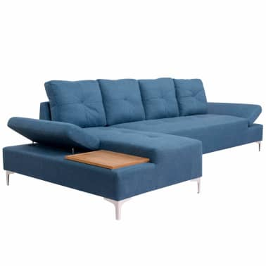 vidaXL Canapé en L avec plateau en bois Tissu Bleu XXL 300 cm[2/8]