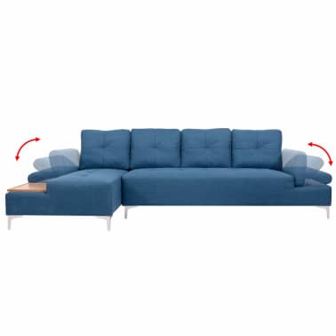 vidaXL Canapé en L avec plateau en bois Tissu Bleu XXL 300 cm[3/8]