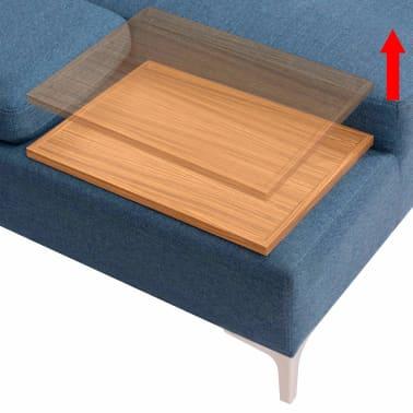 vidaXL Canapé en L avec plateau en bois Tissu Bleu XXL 300 cm[5/8]