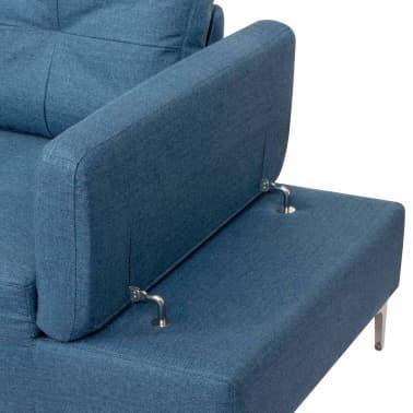 vidaXL Canapé en L avec plateau en bois Tissu Bleu XXL 300 cm[6/8]