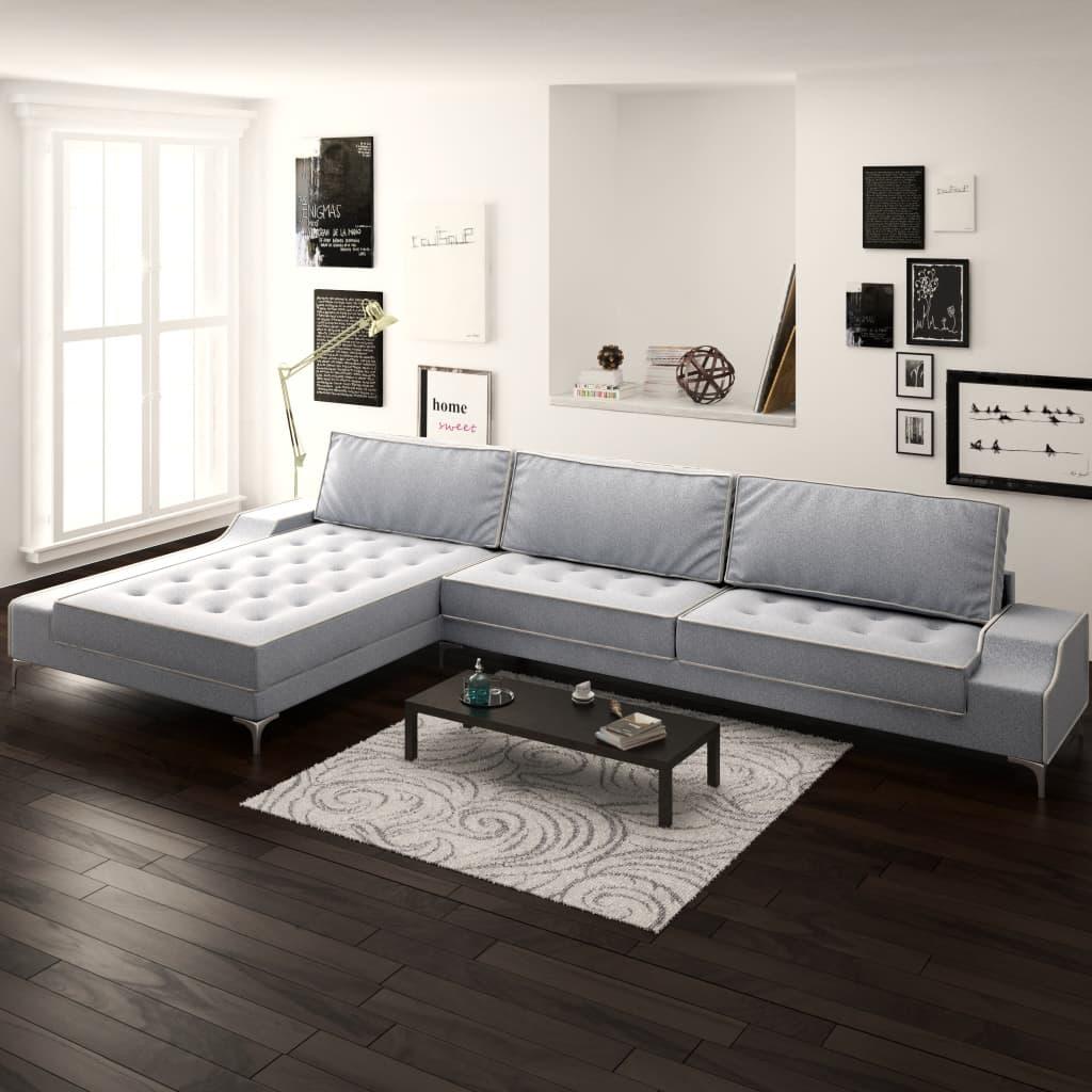vidaXL Sofa w kształcie L, kremowo-szara, XXL, 326x163x83 cm