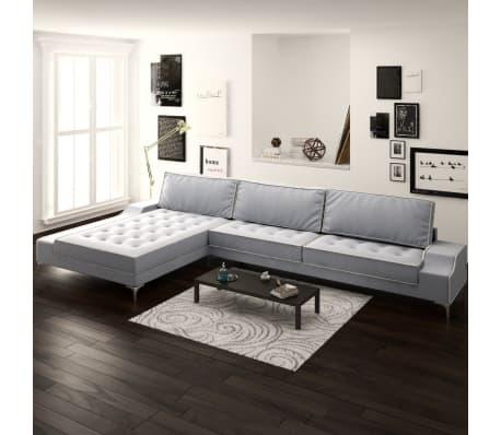 vidaxl sofa in l form vintage stoff hellgrau xxl 326 x 163. Black Bedroom Furniture Sets. Home Design Ideas
