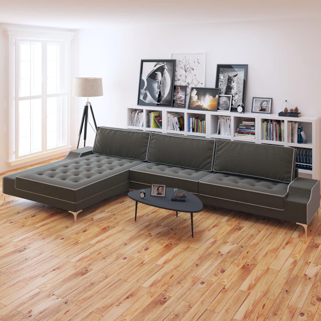 vidaXL Sofa w kształcie litery L, ciemnoszara, XXL, 326x163x83 cm