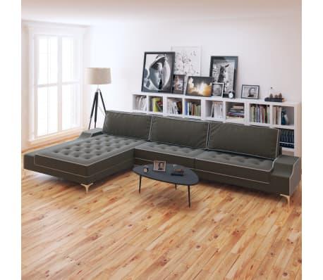 vidaxl sofa in l form retro stoff dunkelgrau xxl 326 x 163. Black Bedroom Furniture Sets. Home Design Ideas