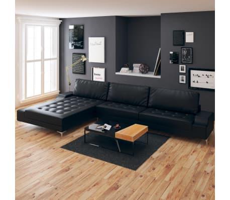 vidaxl sofa in l form retro kunstleder schwarz xxl 326 x. Black Bedroom Furniture Sets. Home Design Ideas
