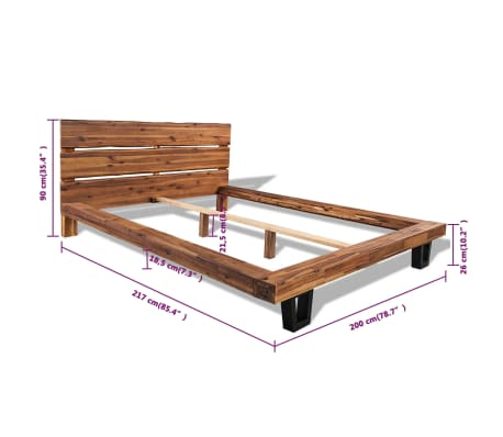 Acheter vidaxl cadre de lit bois d 39 acacia massif 180 x 200 cm pas cher - Cadre de lit en bois massif ...