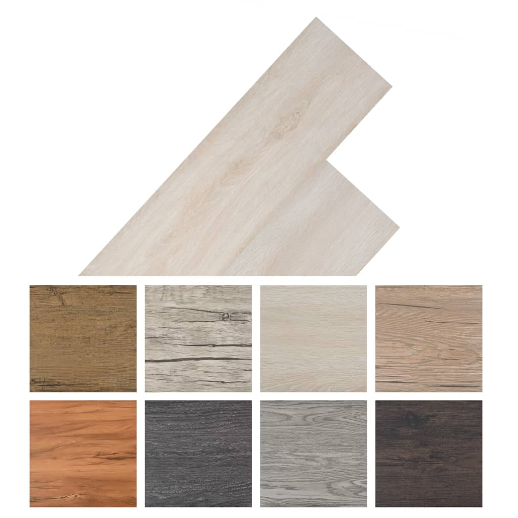 Vloerplanken zelfklevend 5,02 m² 2 mm PVC klassiek wit eiken