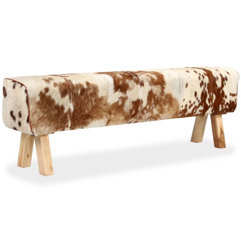 vidaXL Bancă, 160 x 28 x 50 cm, piele naturală de capră imagine vidaxl.ro