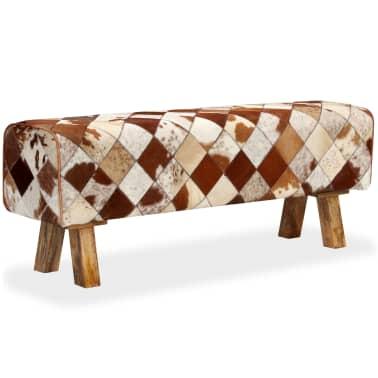 vidaXL Banco de cuero de vaca auténtico estampado de rombos[1/13]