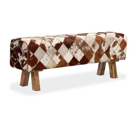 vidaXL Banco de cuero de vaca auténtico estampado de rombos[11/13]