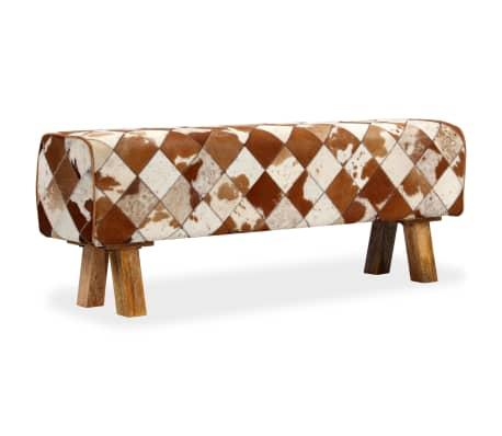 vidaXL Banco de cuero de vaca auténtico estampado de rombos[13/13]