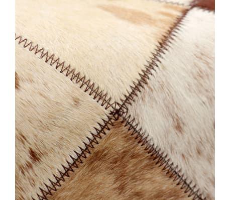 vidaXL Banco de cuero de vaca auténtico estampado de rombos[5/13]