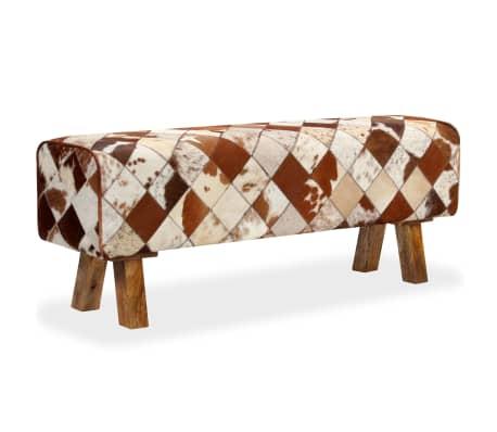 vidaXL Banco de cuero de vaca auténtico estampado de rombos[9/13]