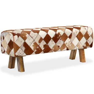 vidaXL Banco de cuero de vaca auténtico estampado de rombos[12/13]