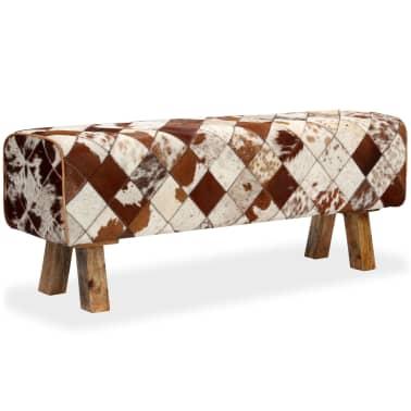 vidaXL Banco de cuero de vaca auténtico estampado de rombos[10/13]