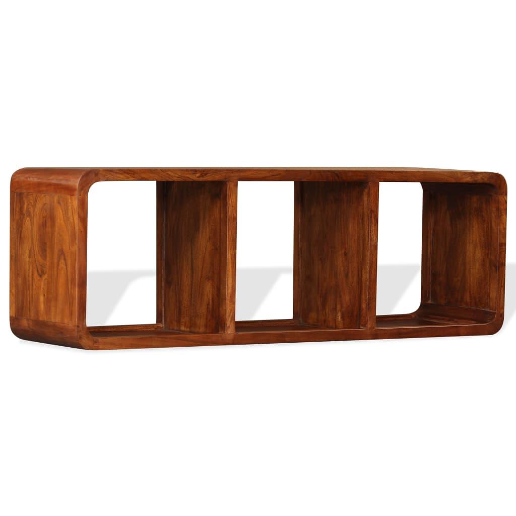 <ul><li>Farbe: Braun</li><li>Material: Massives Akazienholz mit Palisander-Finish</li><li>Abmessungen: 120 x 30 x 40 cm (B x T x H)</li><li>Mit 3 Regalböden</li><li>Der Schrank kann horizontal oder vertikal aufgestellt werden</li><li>Kein Zusammenbau erforderlich</li></ul>
