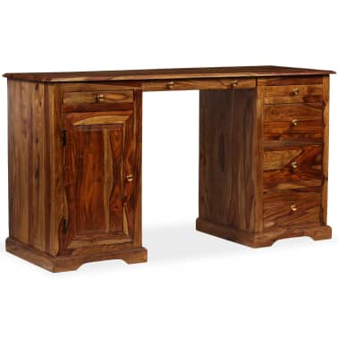 vidaXL Rašomasis stalas, masyvi rausv. dalb. mediena, 140x50x76 cm[1/13]